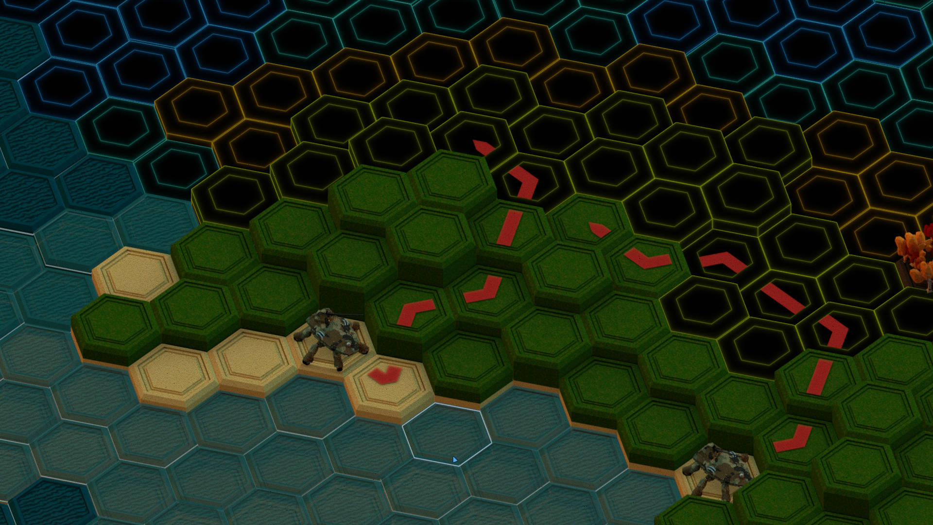 hexagonal map with two mechs, paths and visually blocked tiles