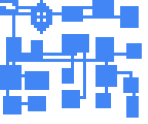 Top-down view on a generated dungeon