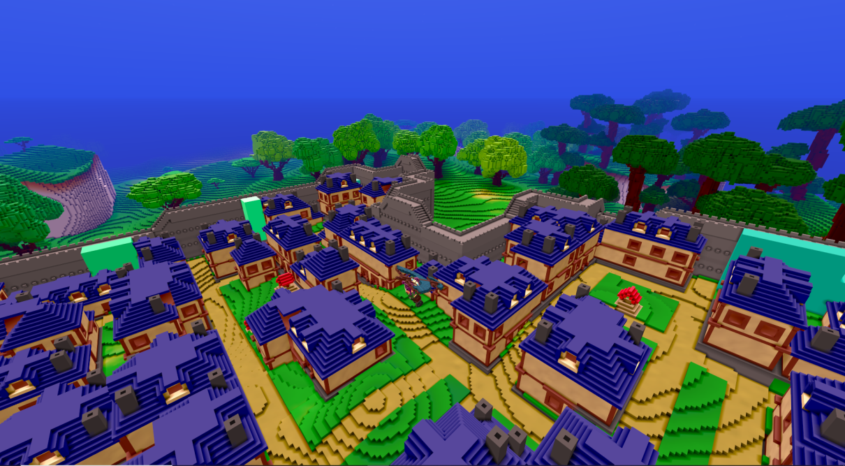 Town surrounded by a wall