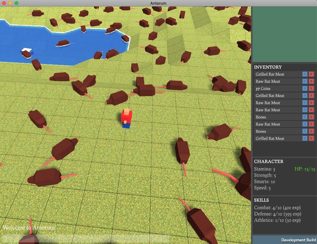 Antorum screenshot: a few human characters, a few rats and an inventory UI
