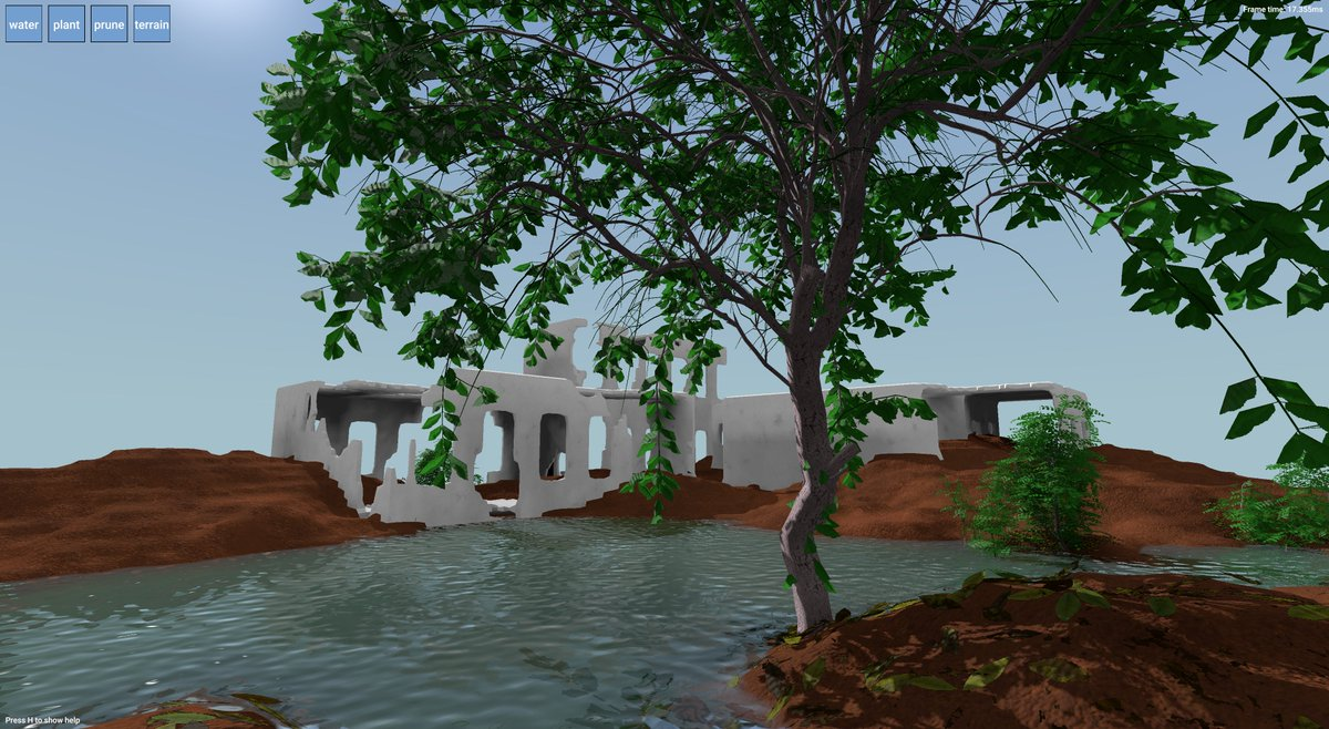 Garden screenshot: a tree, leaves, water and ruins