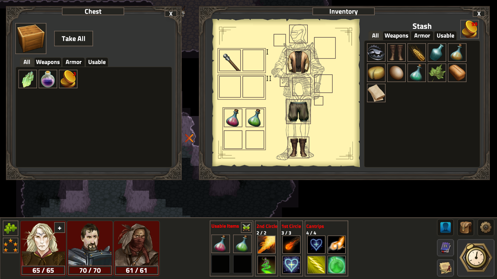 chest and inventory with items