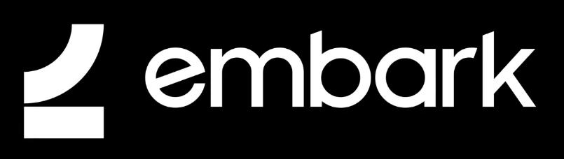Embark logo white on black
