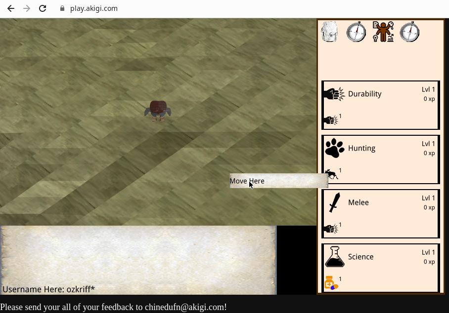 Akigi screenshot: map, character model, chat and panel