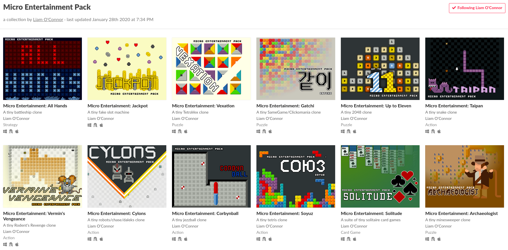 itch collection of 12 games
