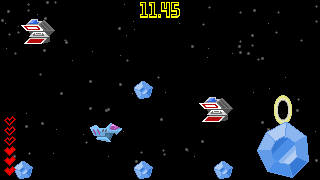 gameplay screenshot: ships and asteroids