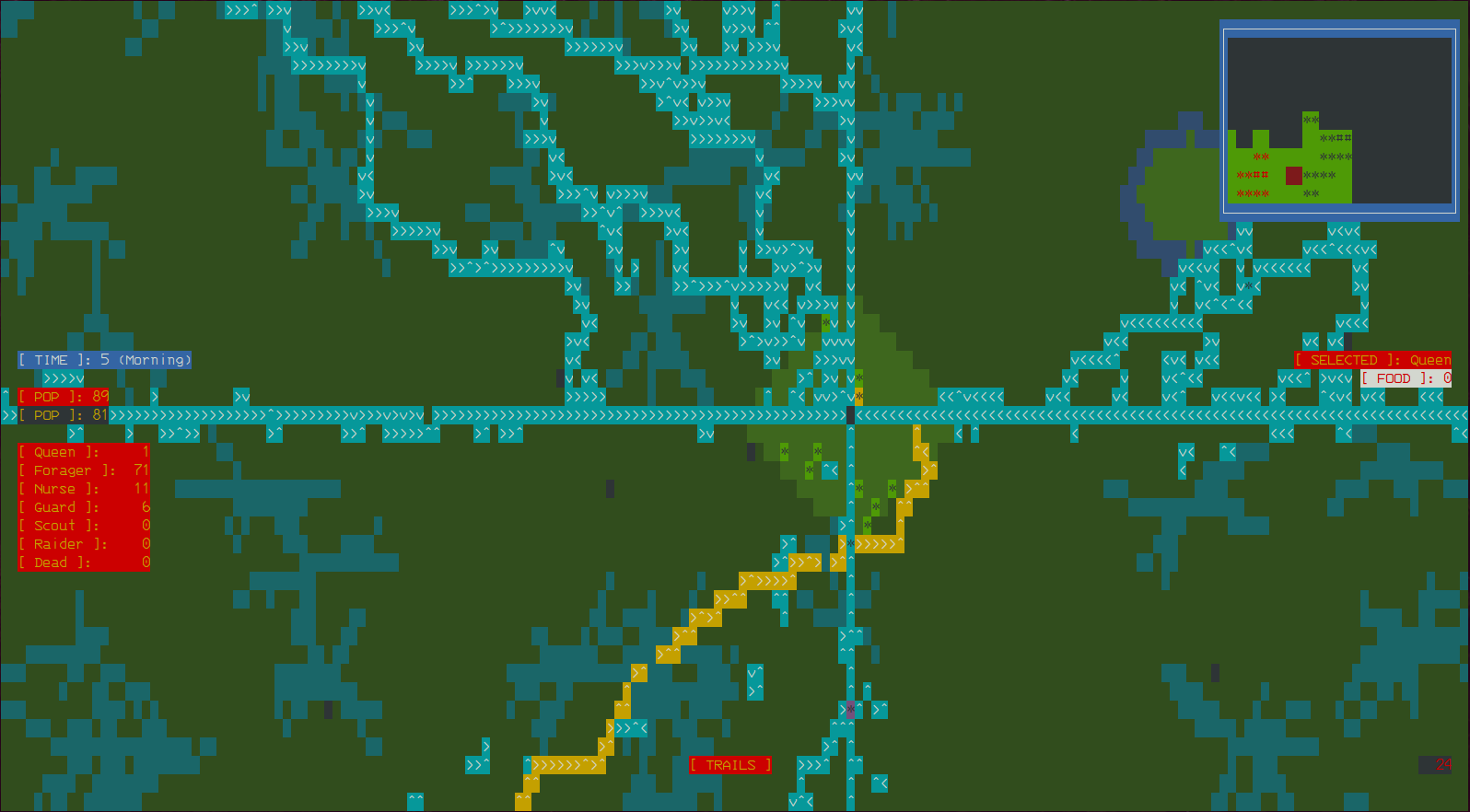 gameplay screenshot with ASCII art graphics