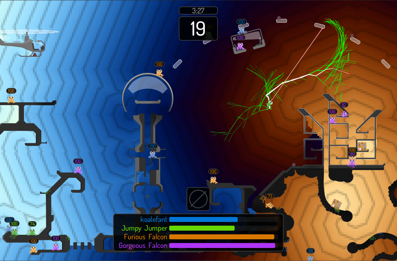 screenshot: decision tree and goal distance map in the background