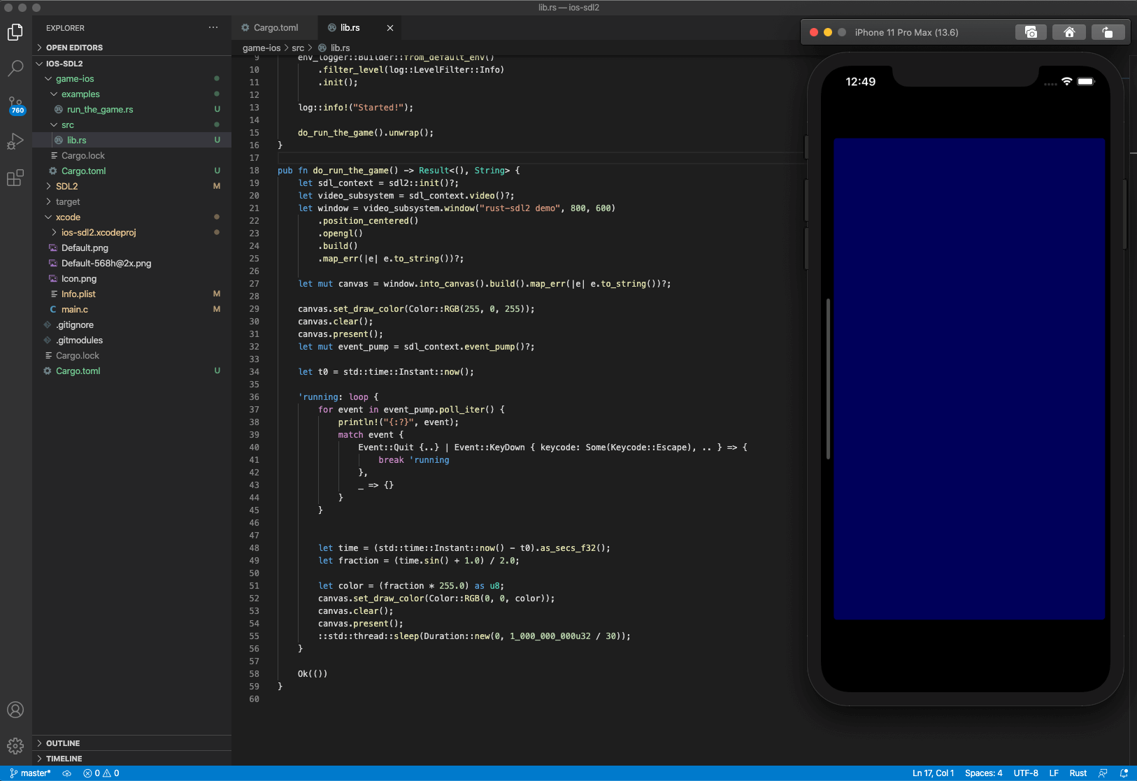 Rust on iOS with SDL2 demo