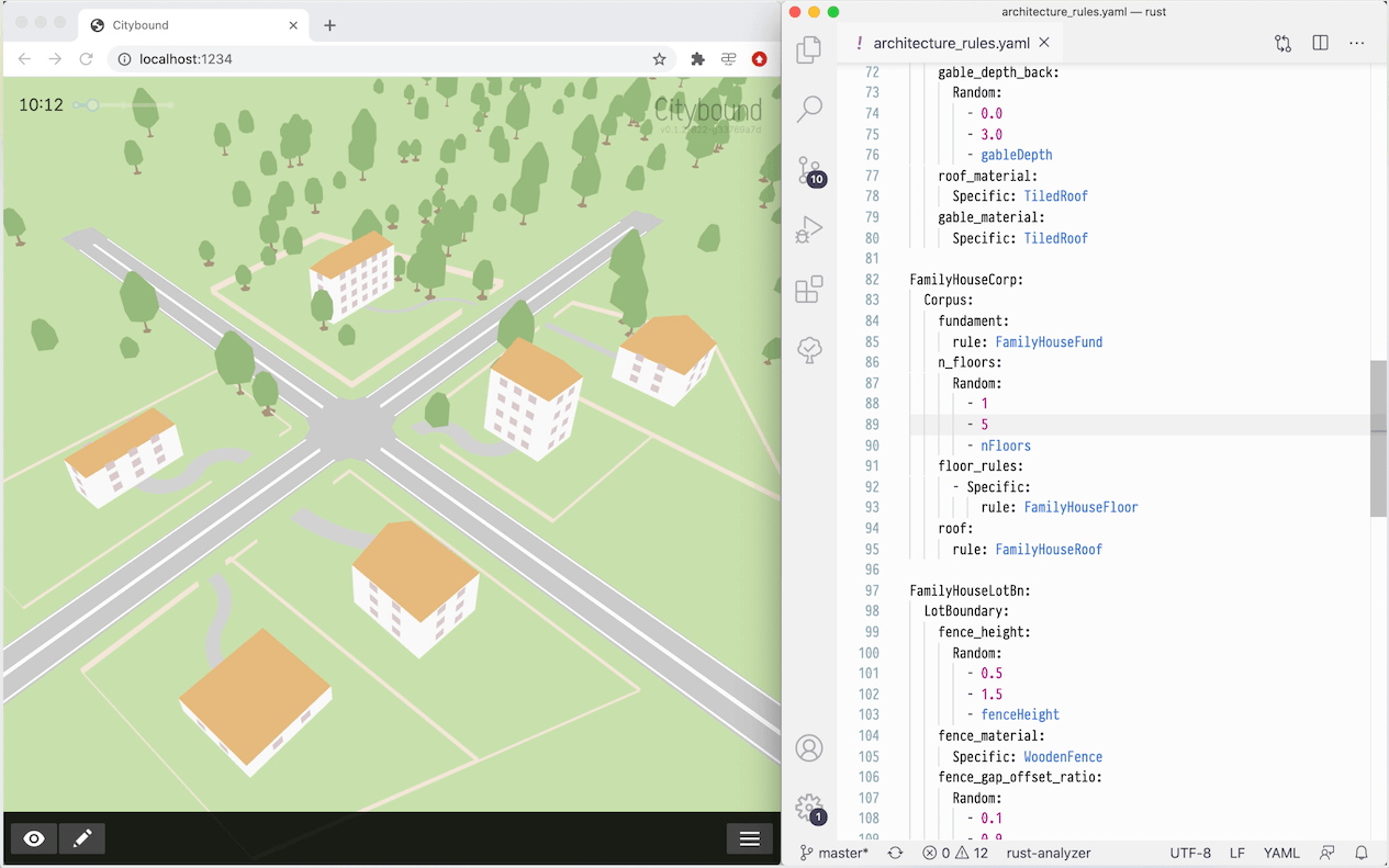 Live editing of procedural architecture rules
