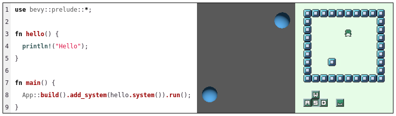 Bevy hello world code snippet and two game screenshots, one displaying two blue spheres in a grey canvas and another one displaying a gameboy colored tile game