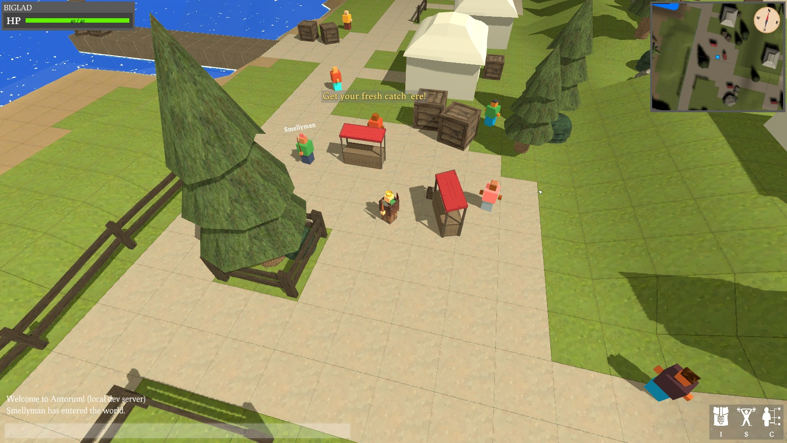 A small marketplace area with a few merchants