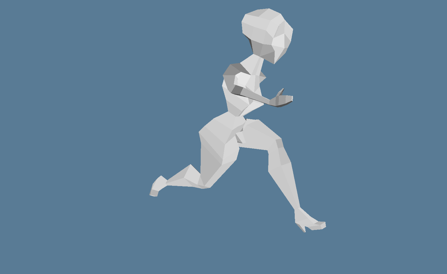 Animated low-poly character rendered by Dotrix