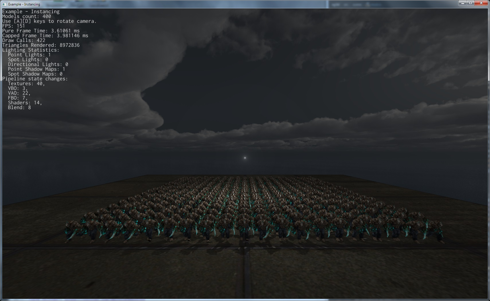 a scene with lightning and multiple hi-poly character models