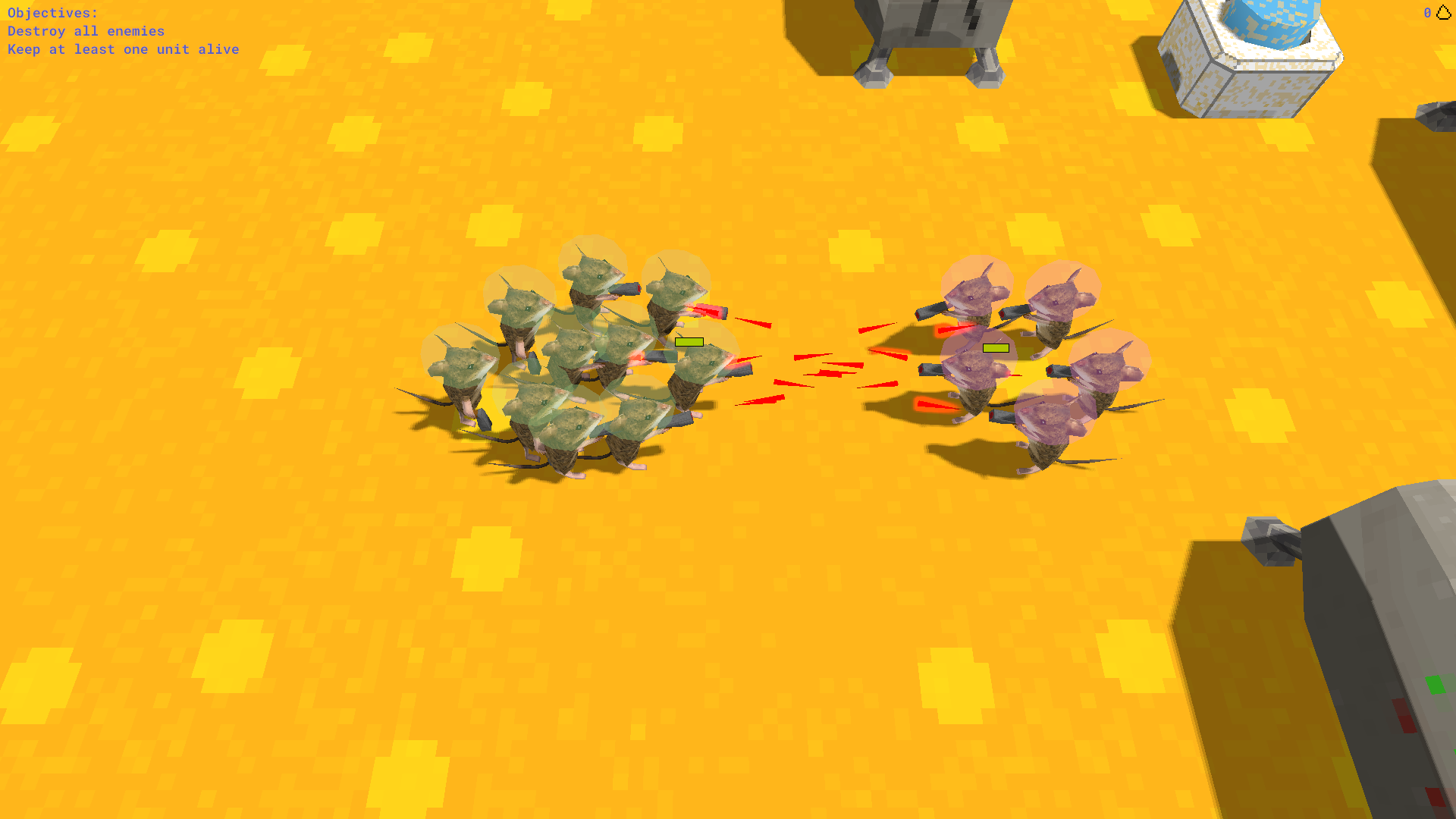 A screenshot of some mice shooting other mice