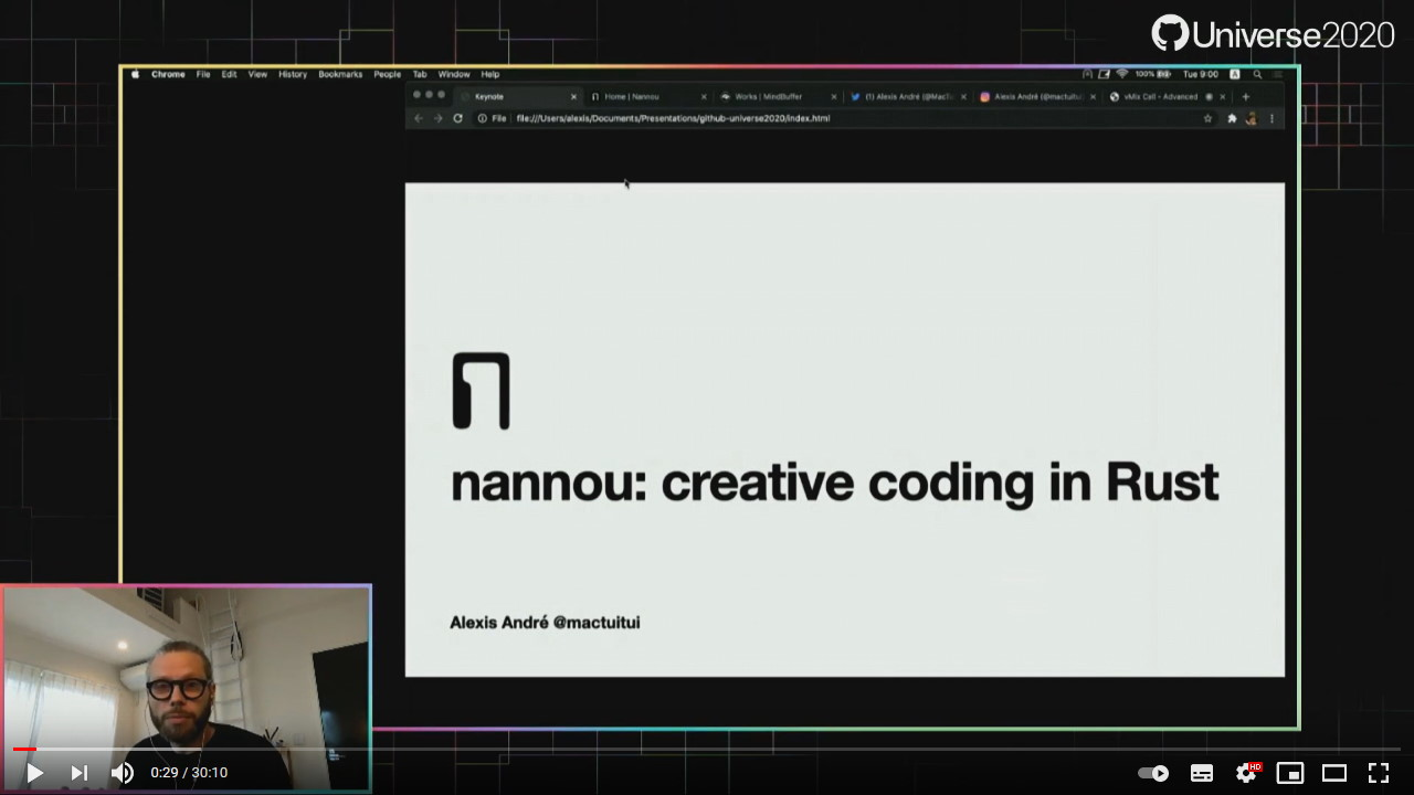 A screenshot from the talk