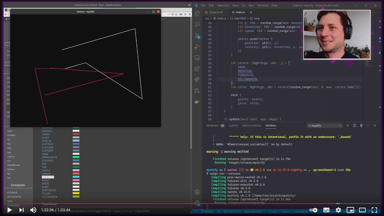 A screenshot from the coding sesion