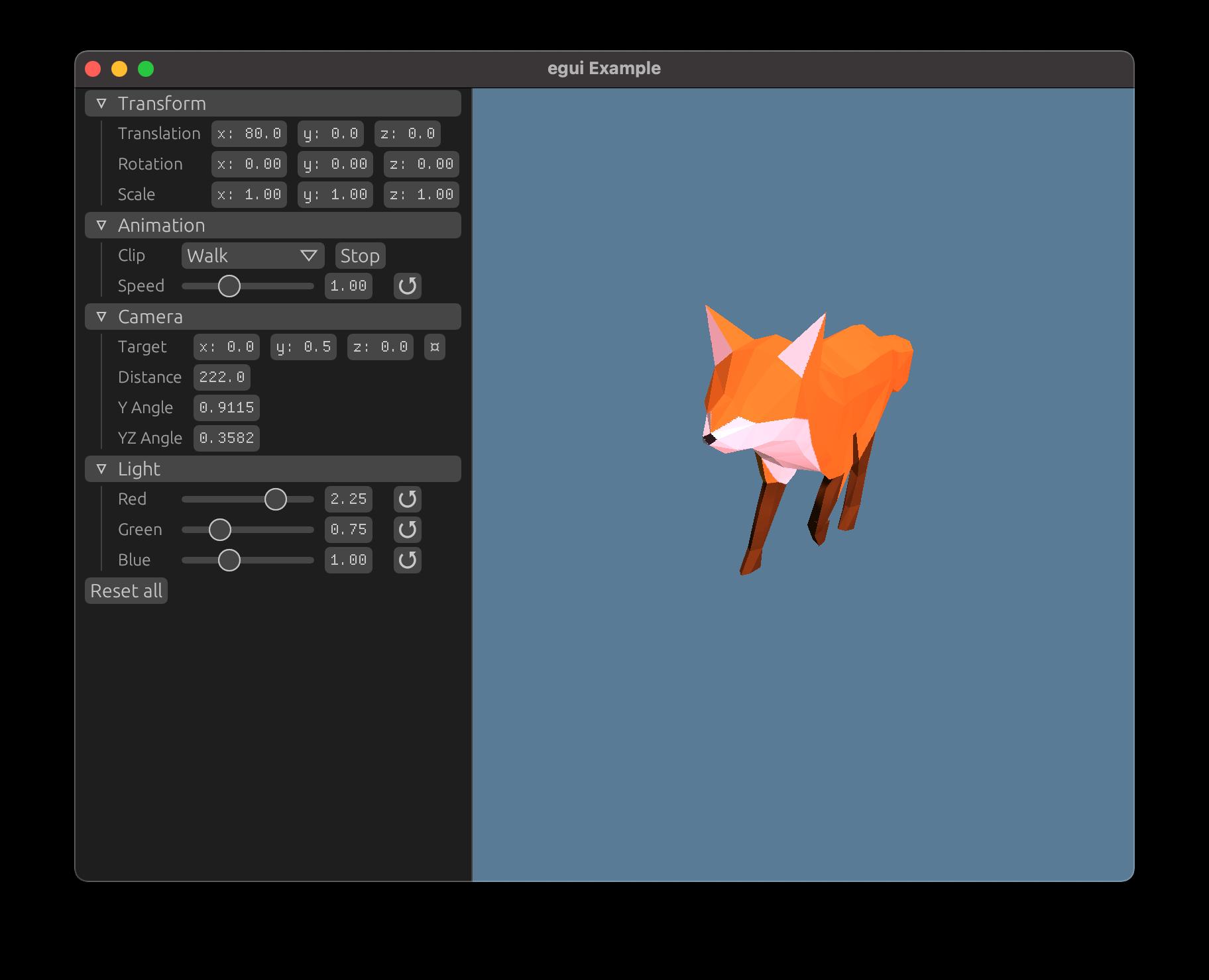 Fox model and egui controls for camera, light, etc