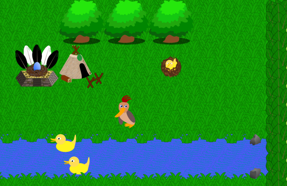 A brightly colored scene with a grass field, a river, and some happy ducks.