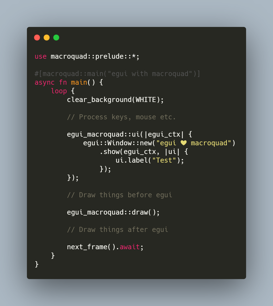 Code example of usage of this library.