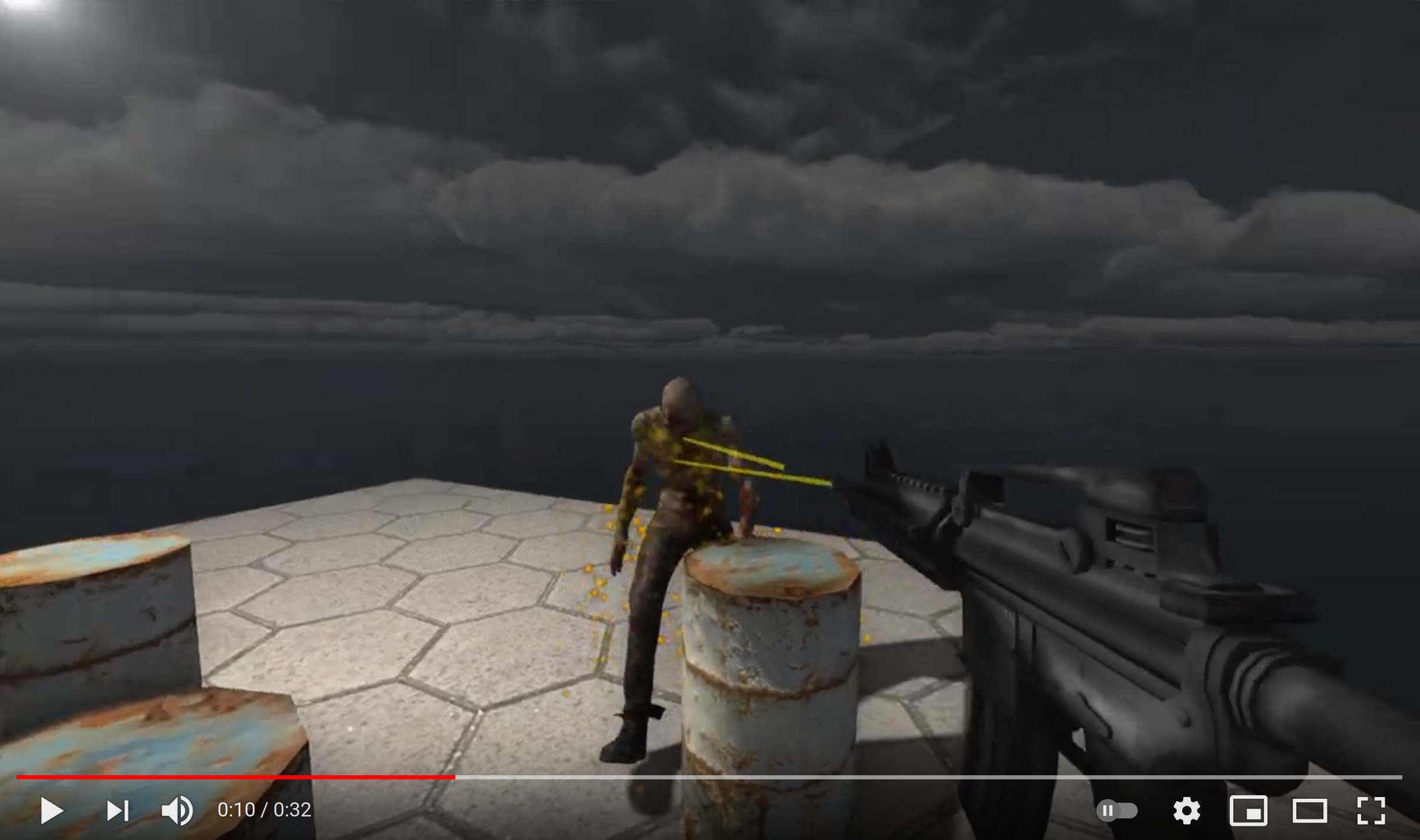 Demo of the third part: shooting at a moving zombie