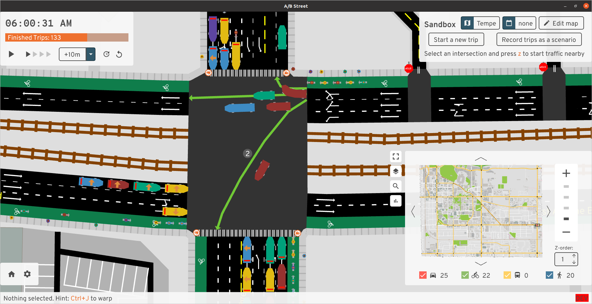 Consolidated intersections in A/B Street