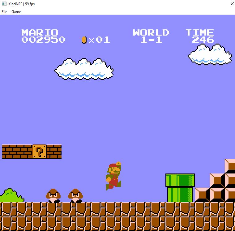 Super Mario Bros. running in KindNES