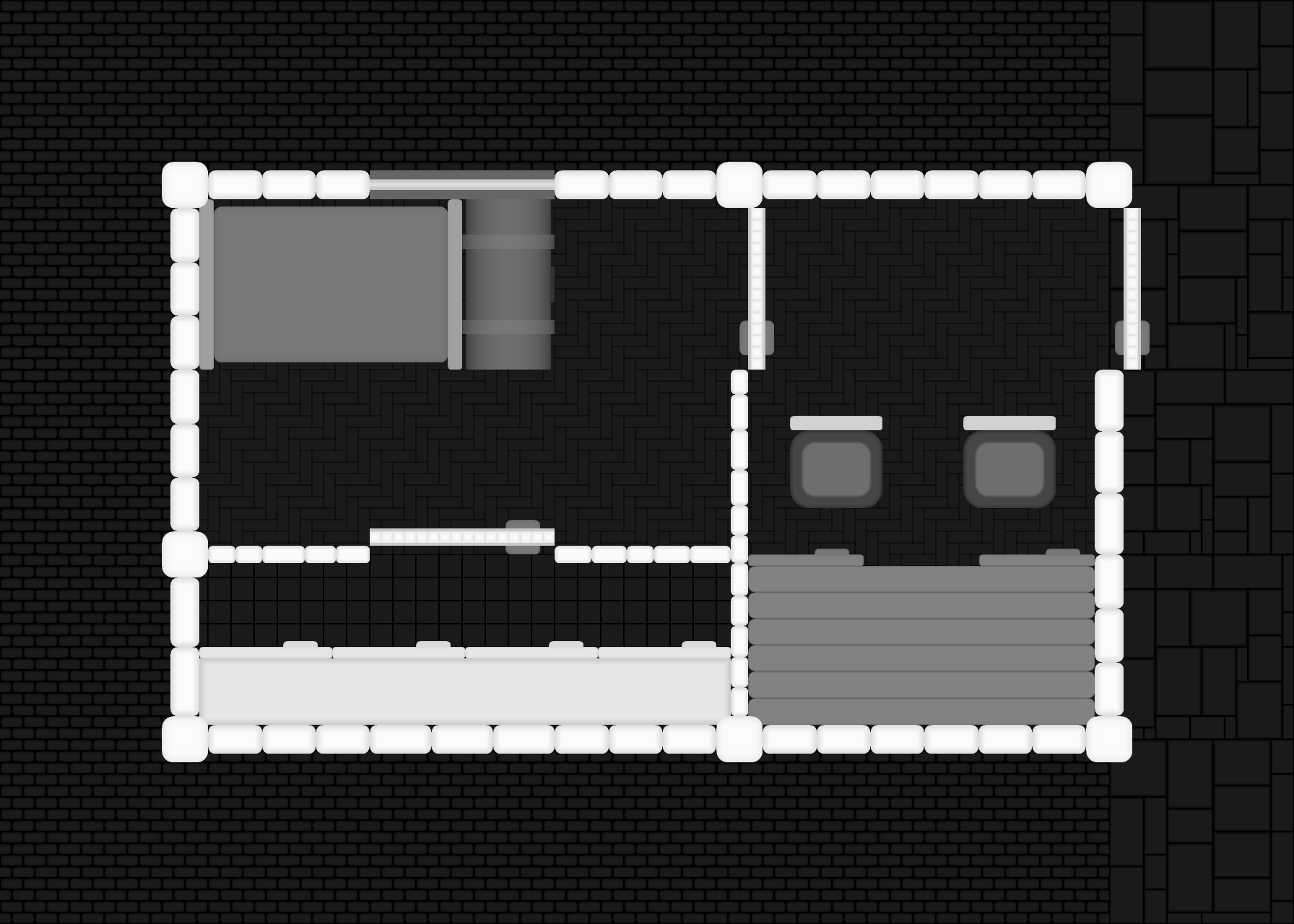 A black&white top-down image of some building