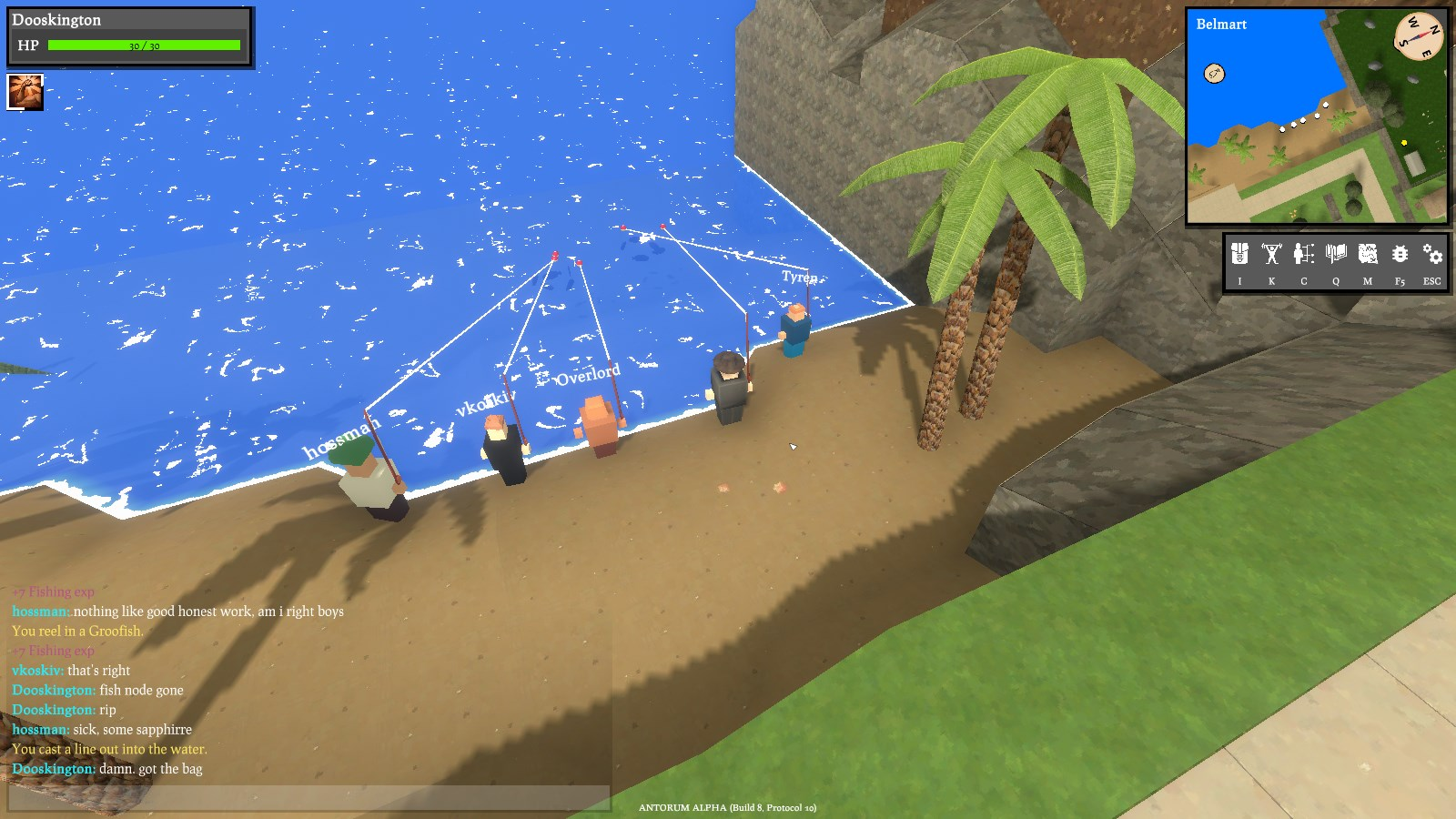 Some players fishing at the beach