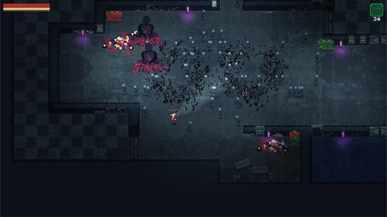 Gameplay screenshot with lots of zombies and a zombie boss